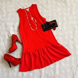 H&M Red Peplum Sleeveless Tunic Size 8